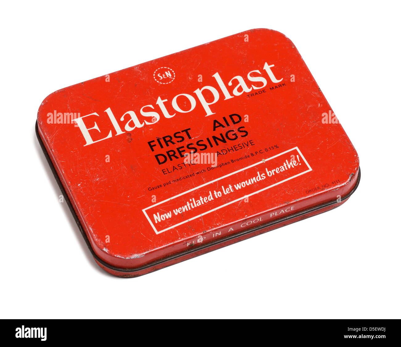 Old tin of Elastoplast plasters - Stock Image
