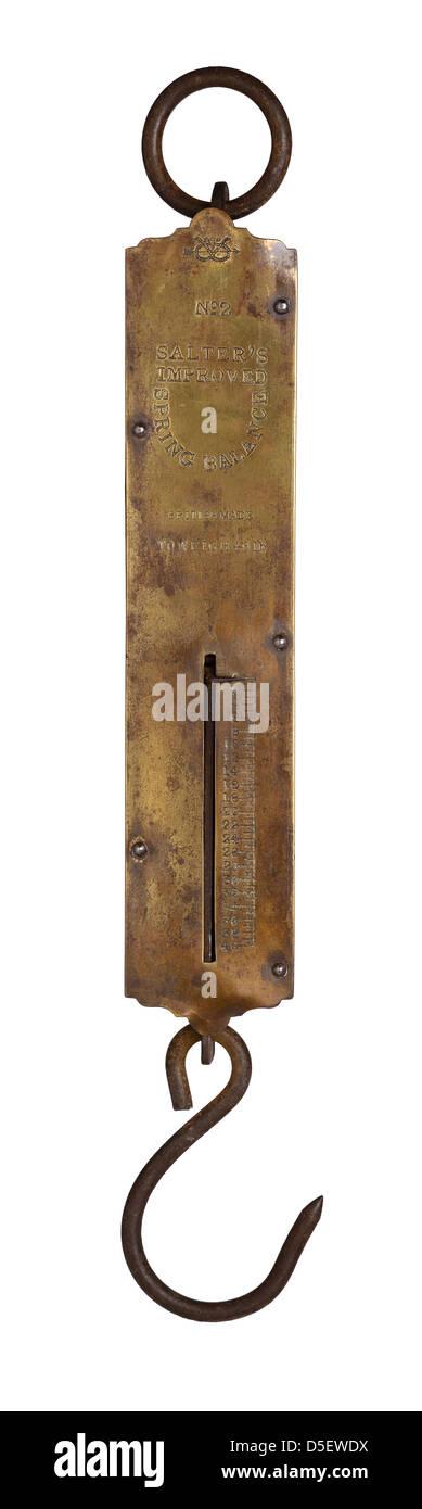 Vintage Salter brass spring balance scale - Stock Image