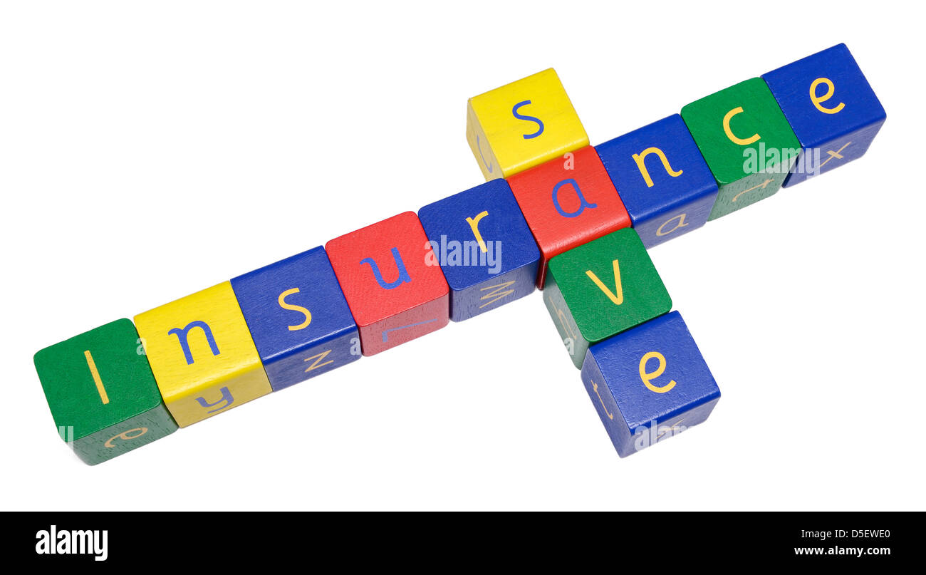 Wooden blocks spelling INSURANCE and SAVE - Stock Image