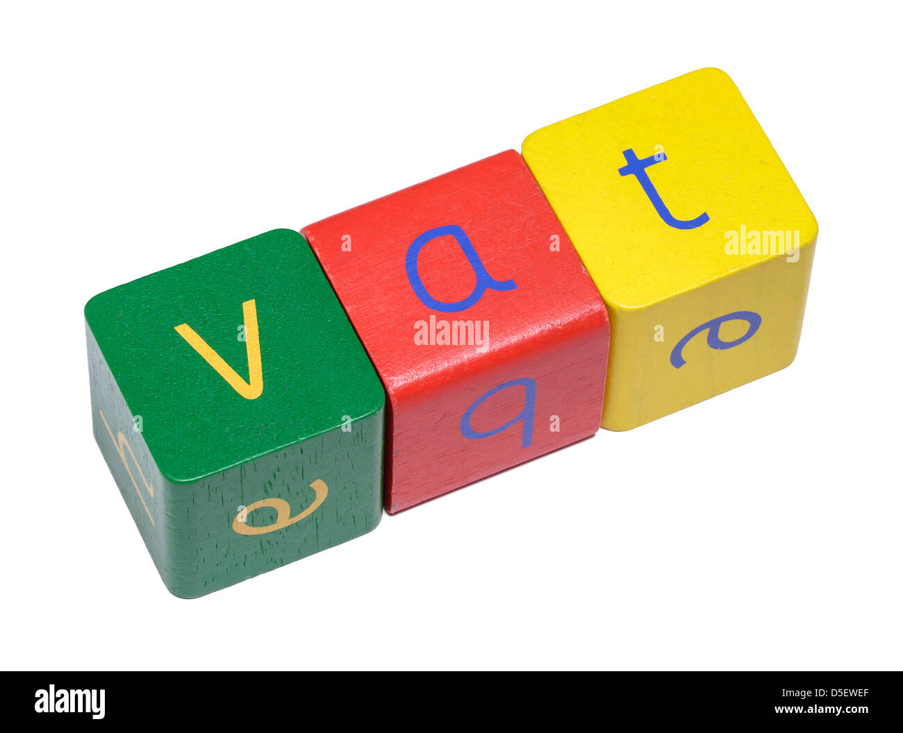 Wooden blocks spelling VAT - Stock Image