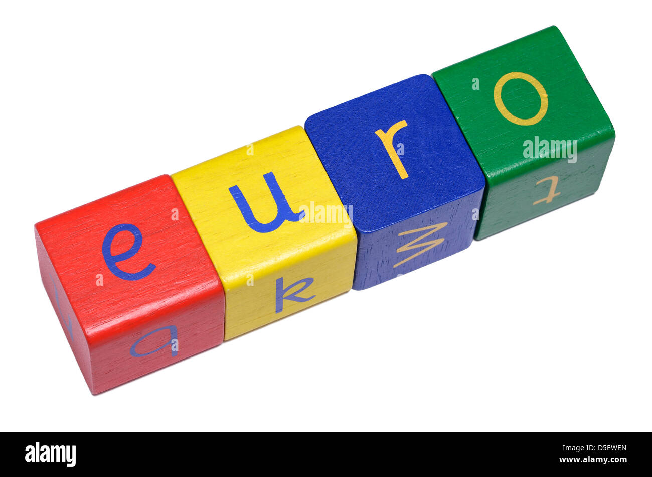 Wooden blocks spelling EURO - Stock Image