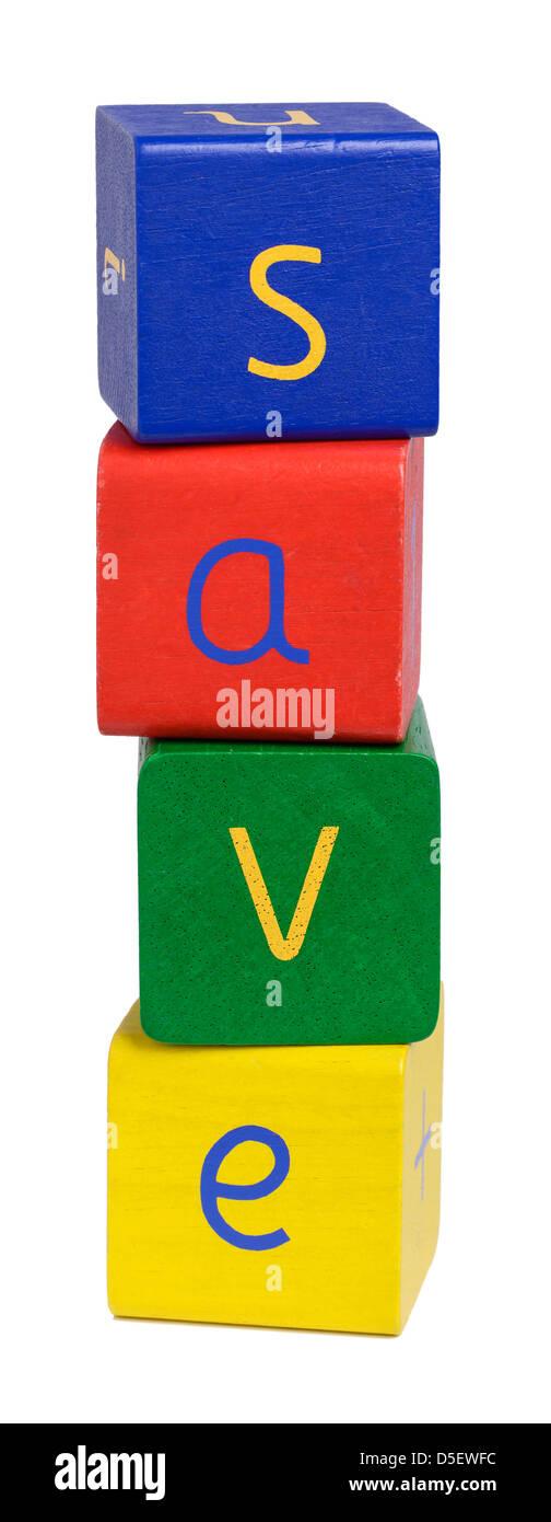 Wooden blocks spelling SAVE - Stock Image