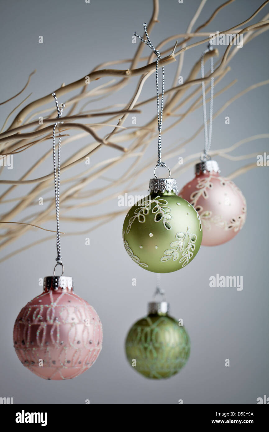 Beautiful Christmas Baubles Hanging From White Branches Stock Photo Alamy