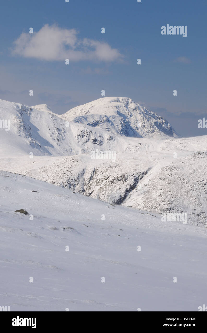View from Glaramara towards snow clad Pillar, mountain in the English Lake District - Stock Image