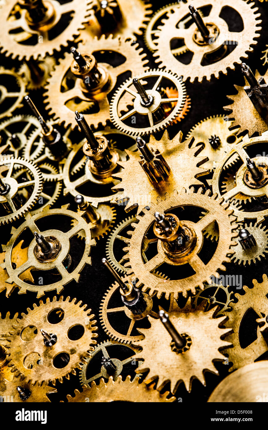 close up old mechanism on a black background - Stock Image