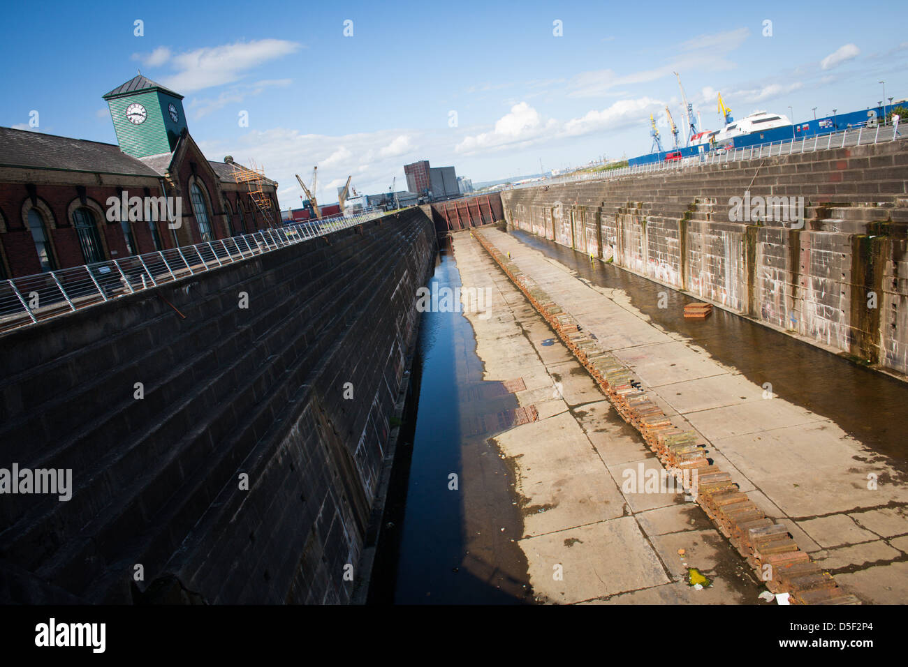 The dry dock where the Titanic was finished, in Belfast, Northern Ireland - Stock Image