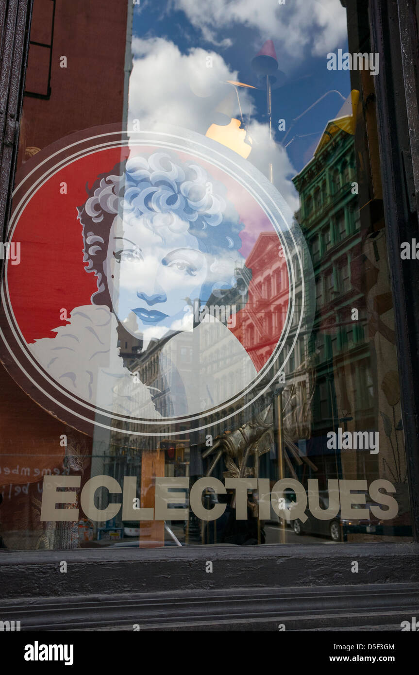 Eclectiques, an antique and collectables shop in Soho in New York City - Stock Image