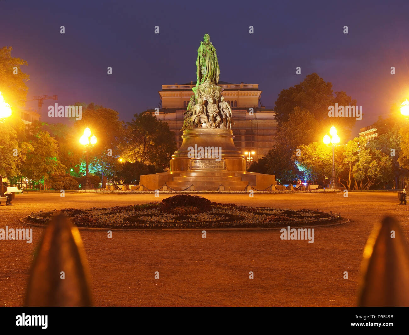 Monument to Catherine the Great in front of the Alexandrinsky Theatre at the White Nights, Saint Petersburg, Russian - Stock Image