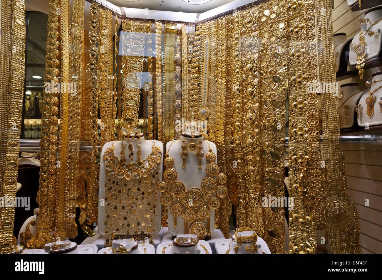 Handcraft Gold jewelry on sale, Dubai Gold Souk, United Arab Emirates. - Stock Image
