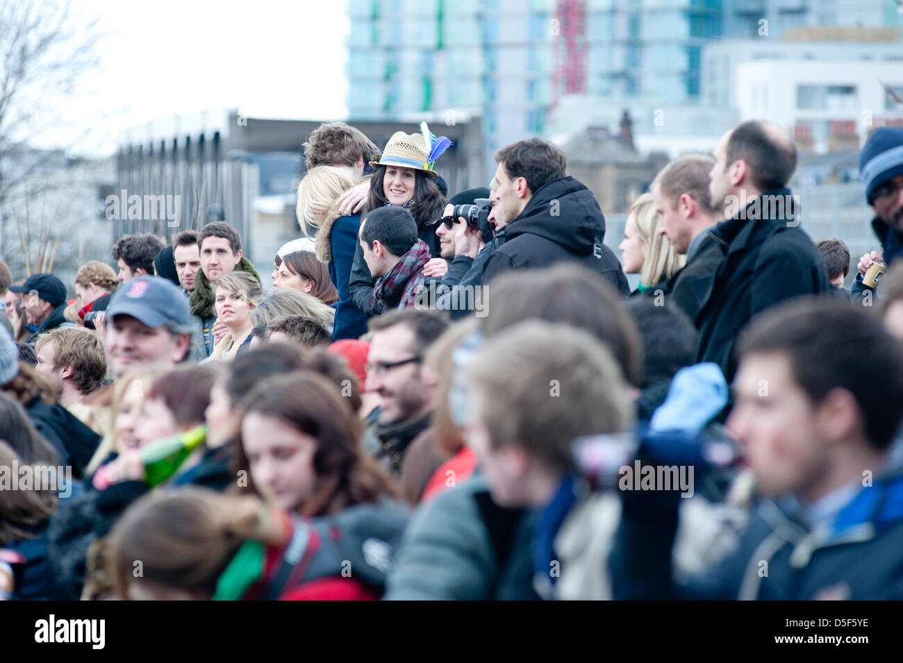 London, UK - 31 March 2013: hundreds of people gather to see the 5th Annual Oxford and Cambridge Goat Race that - Stock Image