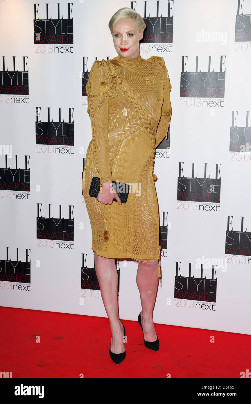 Gwendoline Christie arrives for the Elle Style Awards. - Stock Image