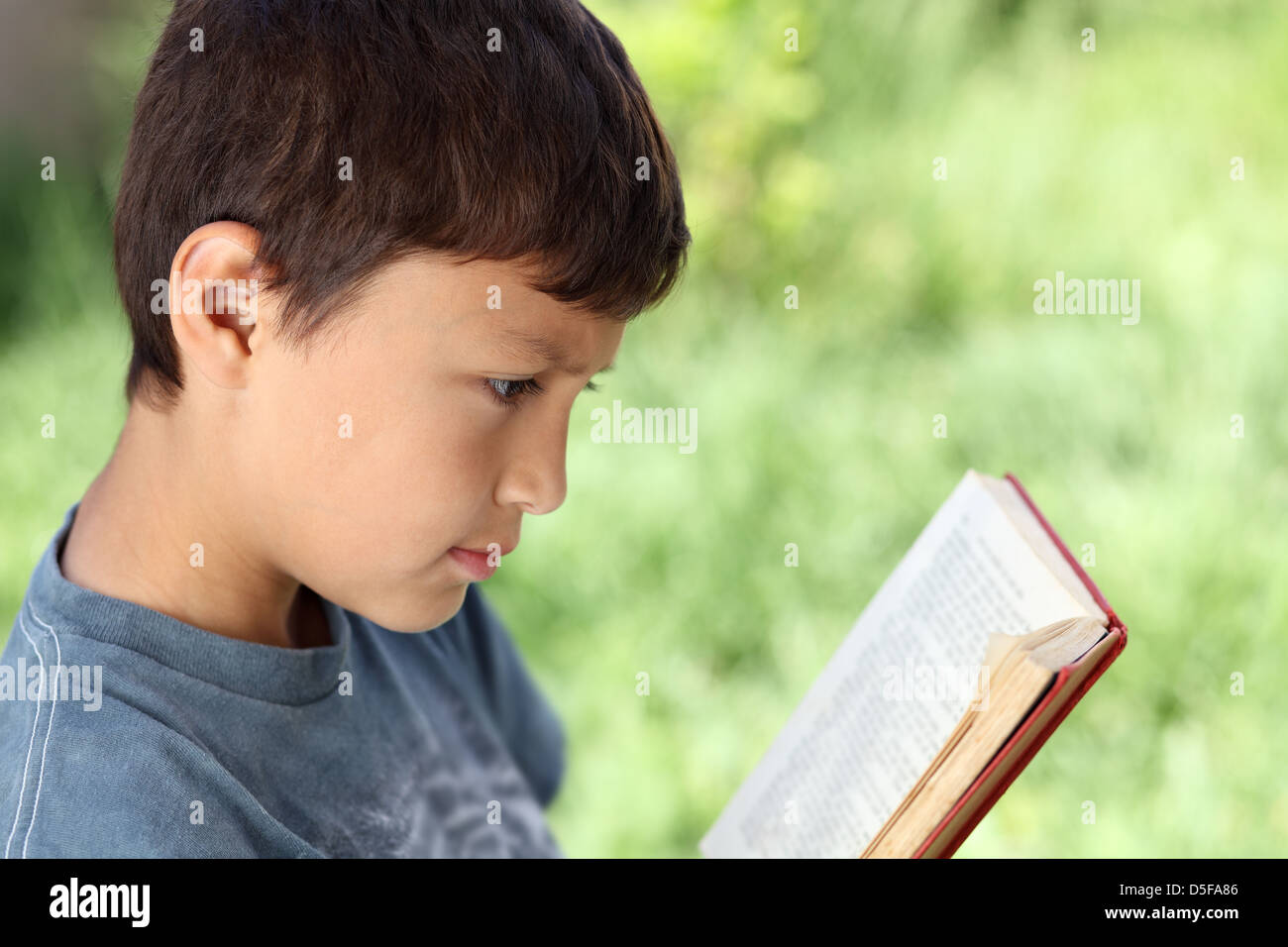 Young boy reading book outside with natural green background and shallow depth of field - with copy space to right - Stock Image
