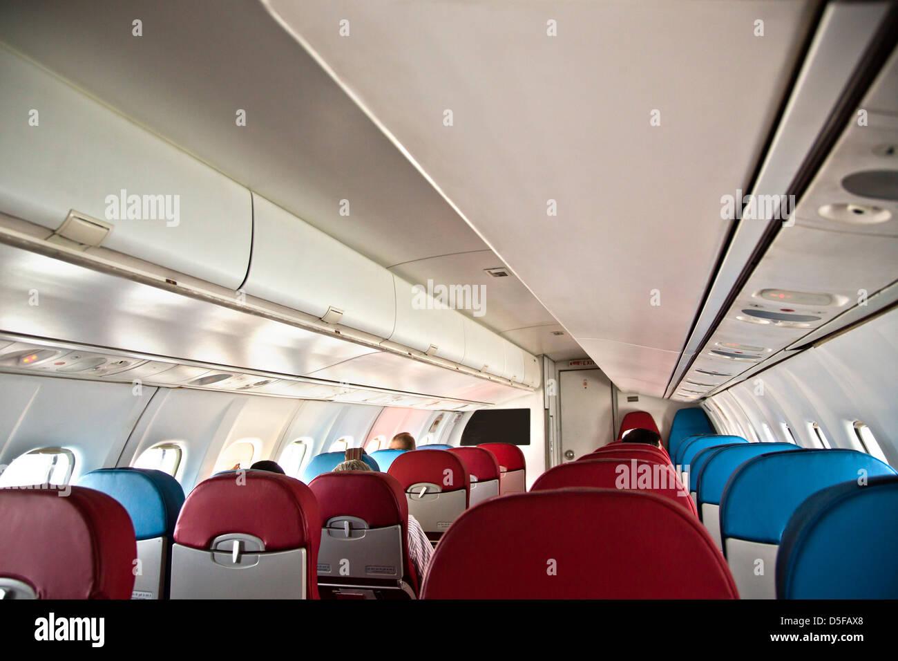 Interiors of an airplane, Shimla Airport, Shimla, Himachal Pradesh, India - Stock Image