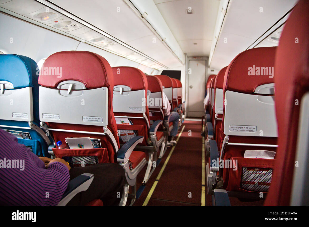 Interiors of an airplane, Shimla Airport, Shimla, Himachal Pradesh, India - Stock Image
