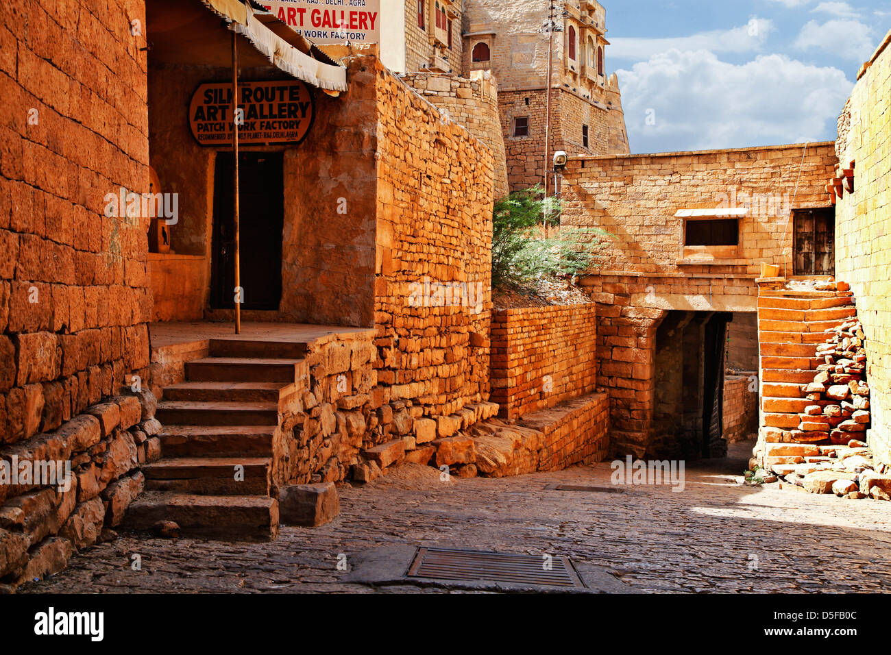 Traditional buildings in Jaisalmer, Rajasthan, India - Stock Image