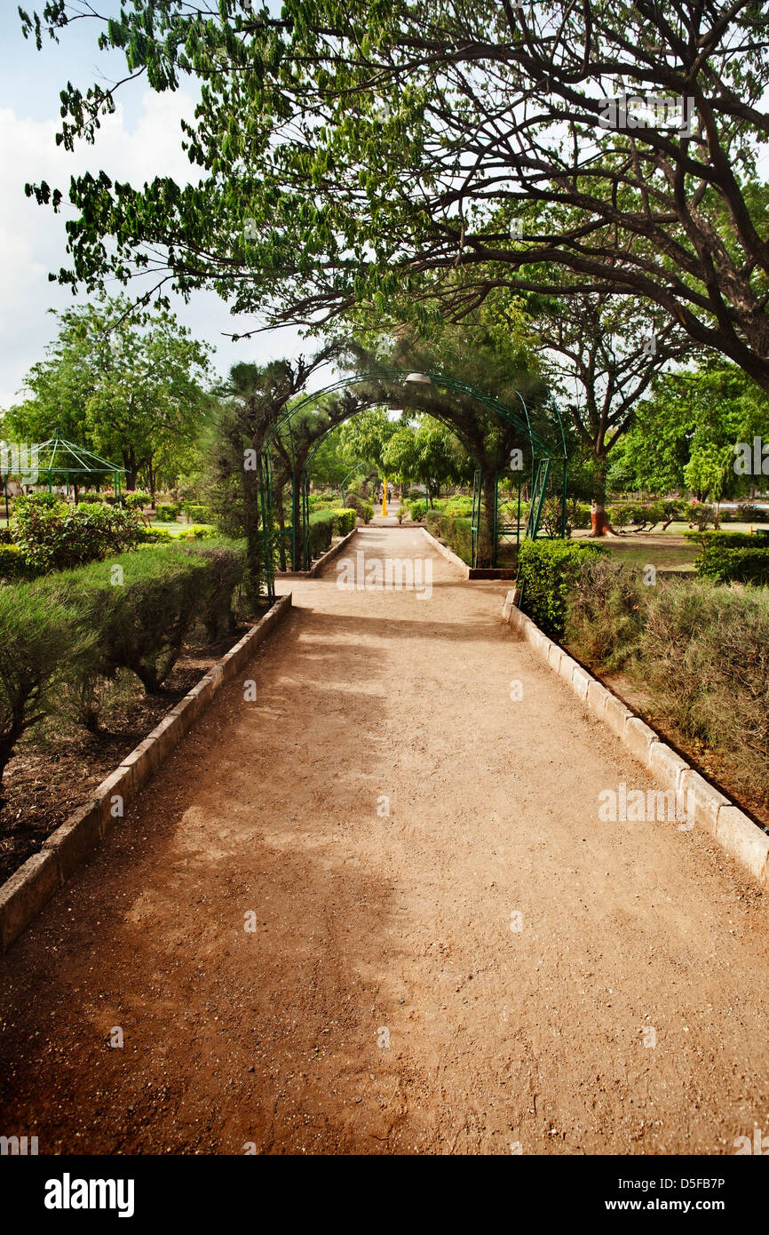 Walkway in a park, Rajkot, Gujarat, India Stock Photo