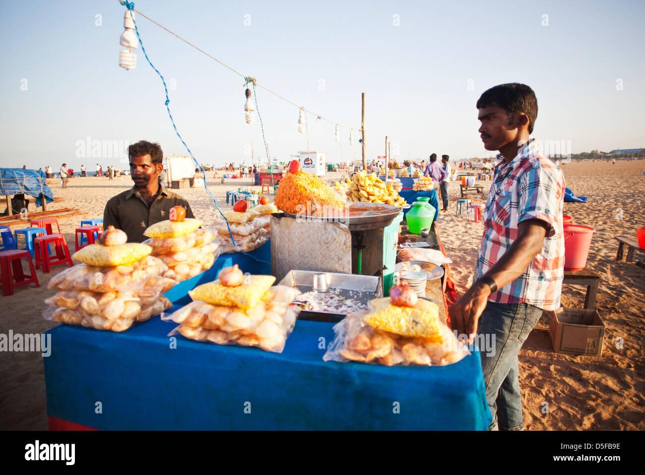 Food stalls on the beach, Chennai, Tamil Nadu, India - Stock Image
