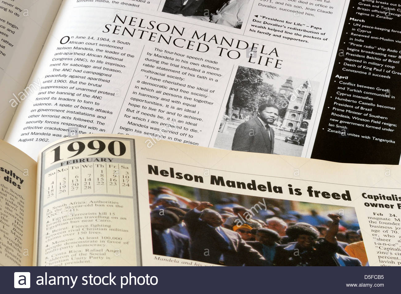 Nelson Mandela book entries relating to his life sentence and his release - Stock Image