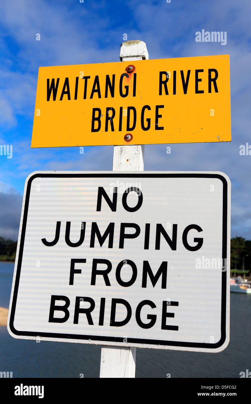 No jumping from bridge sign at the Waitangi River. - Stock Image