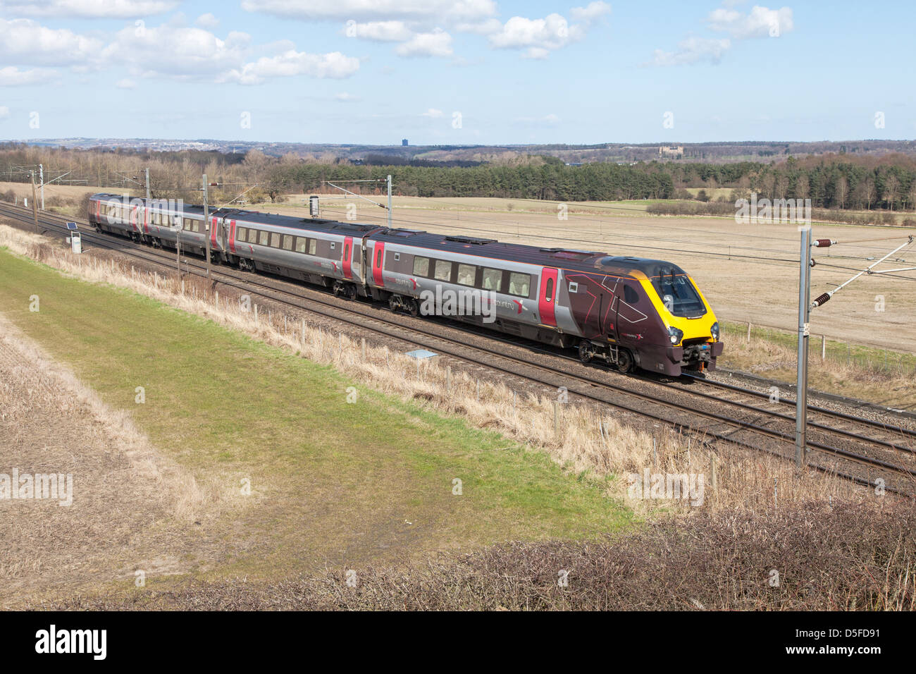 Cross Country Class 220 Voyager  train heads south on the ECML through Plawsworth north east England UK - Stock Image
