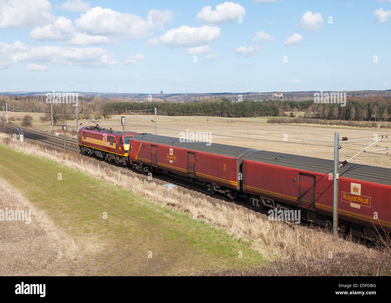 Royal mail train heads north on the  ECML through Plawsworth north east England UK - Stock Image