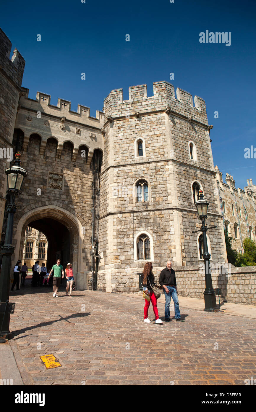 England, Berkshire, Windsor, visitors exiting Castle after tour - Stock Image