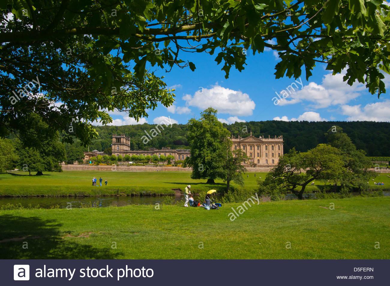 Chatsworth House, Derbyshire, Peak District, England, UK - Stock Image