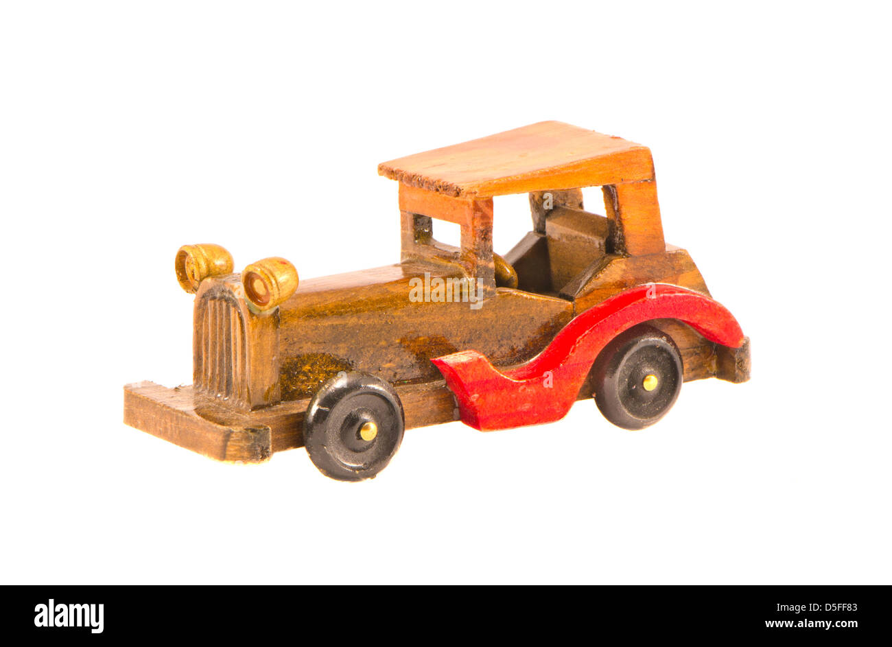 wooden old car model isolated on white - Stock Image