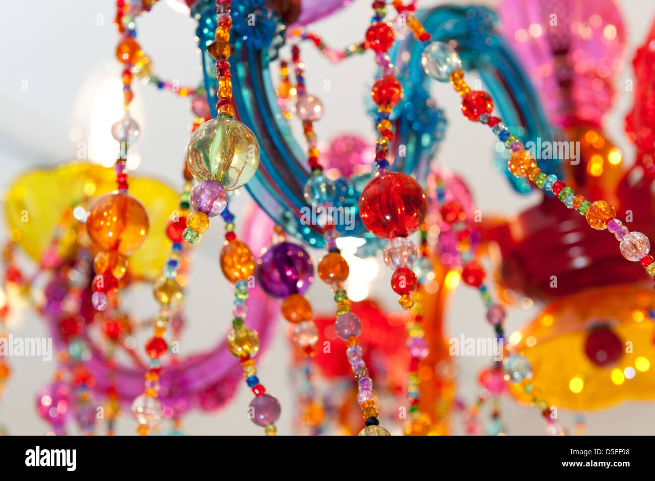 Colorful Chandelier Close Up Detail Made From Colored Glass Beads Bespoke Multicolored