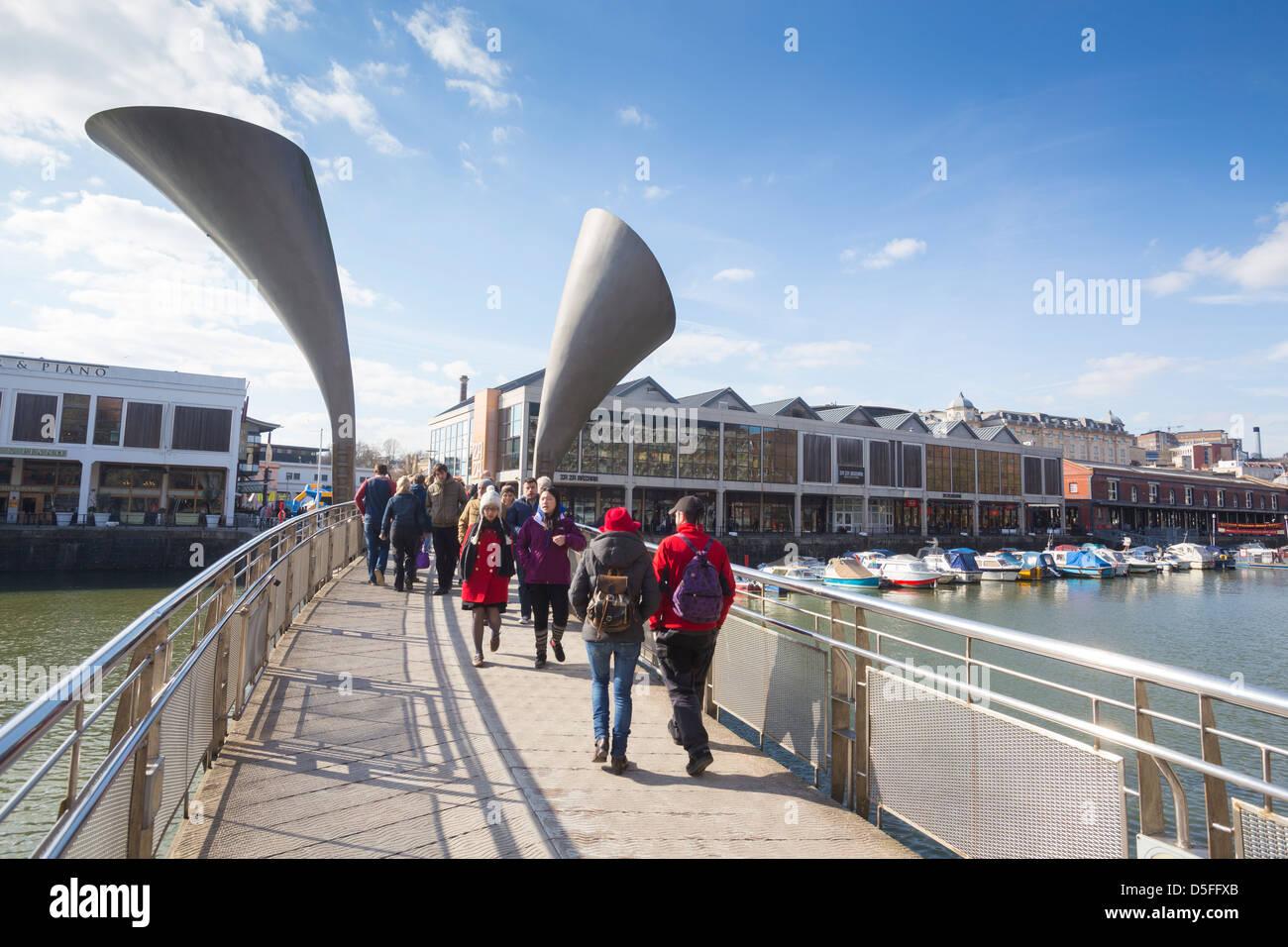 Pero's Bridge spanning Bristol Harbour in Bristol, UK. - Stock Image