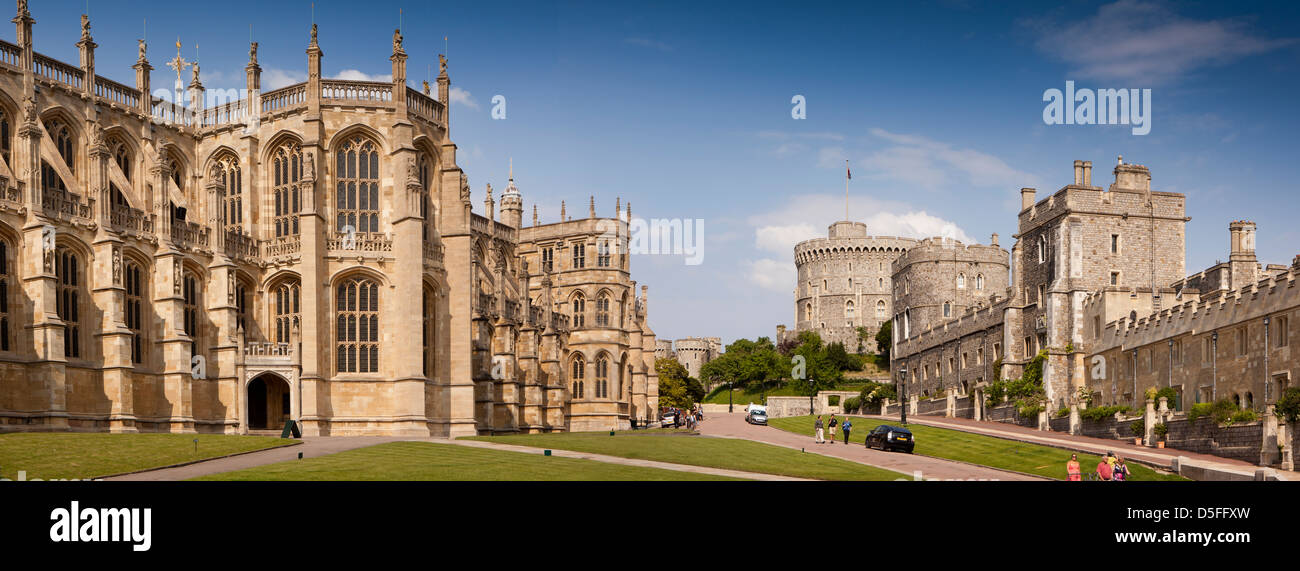 England, Berkshire, Windsor, Castle panoramic view from St George's Chapel - Stock Image
