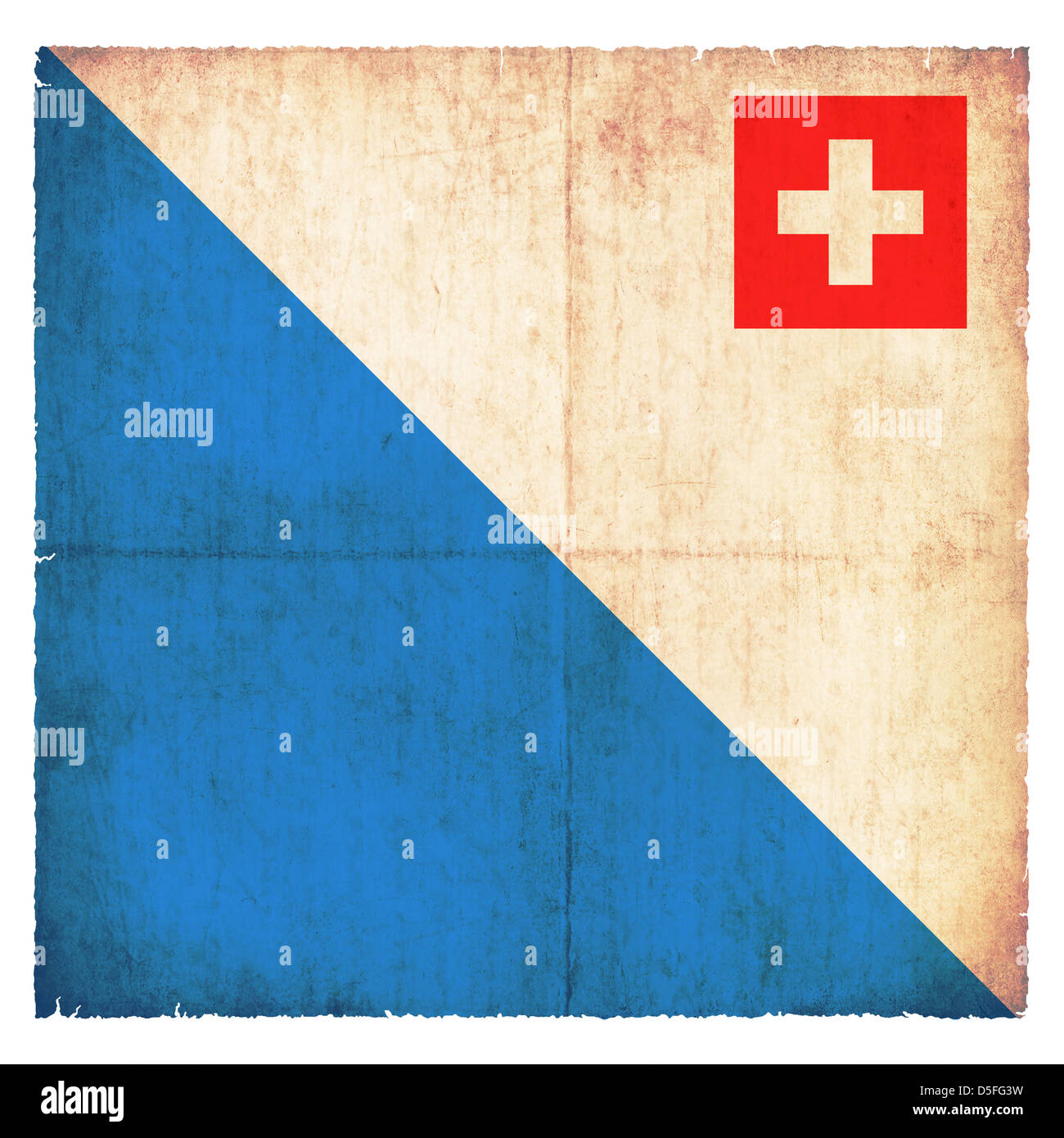 Flag of the swiss canton Zurich created in grunge style - Stock Image