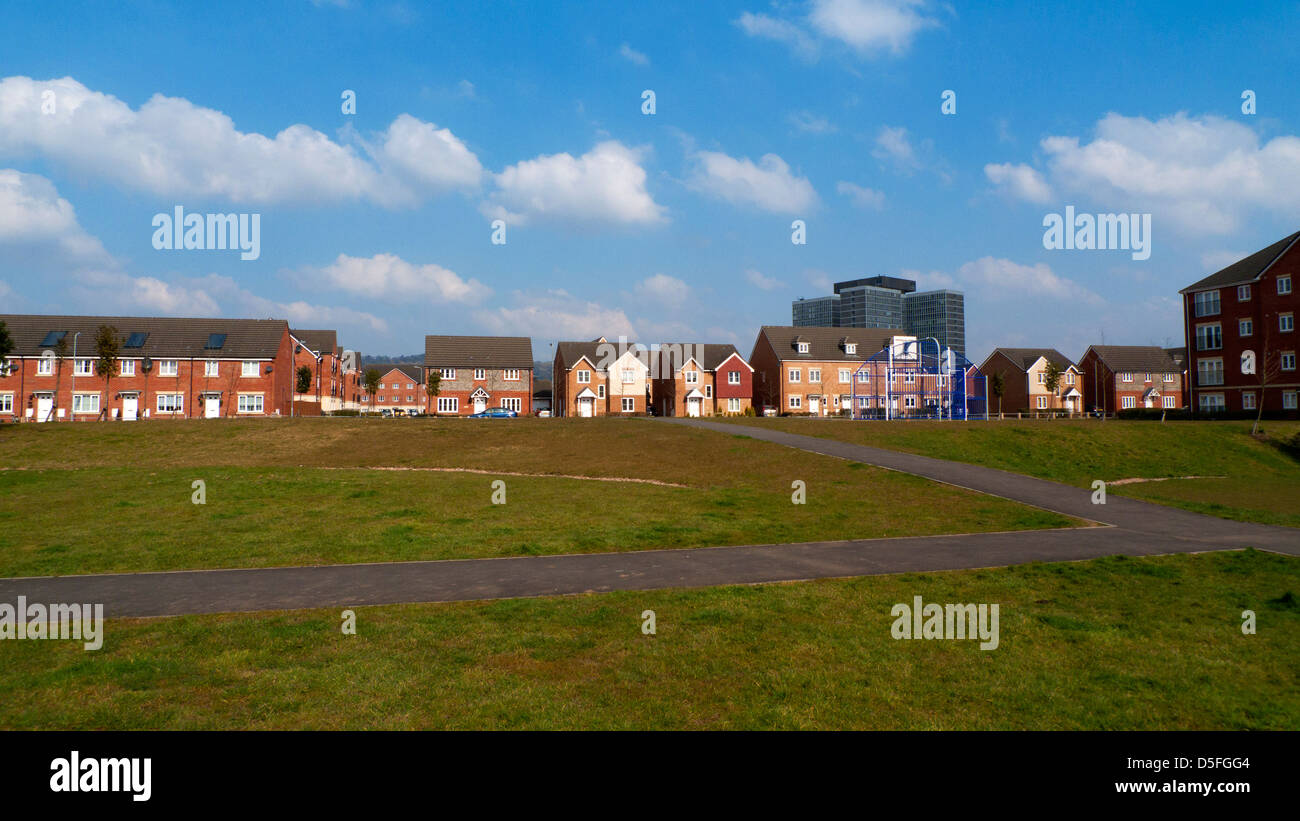 New build houses on a terraced housing development in Llanishen Cardiff South Wales UK  KATHY DEWITT - Stock Image