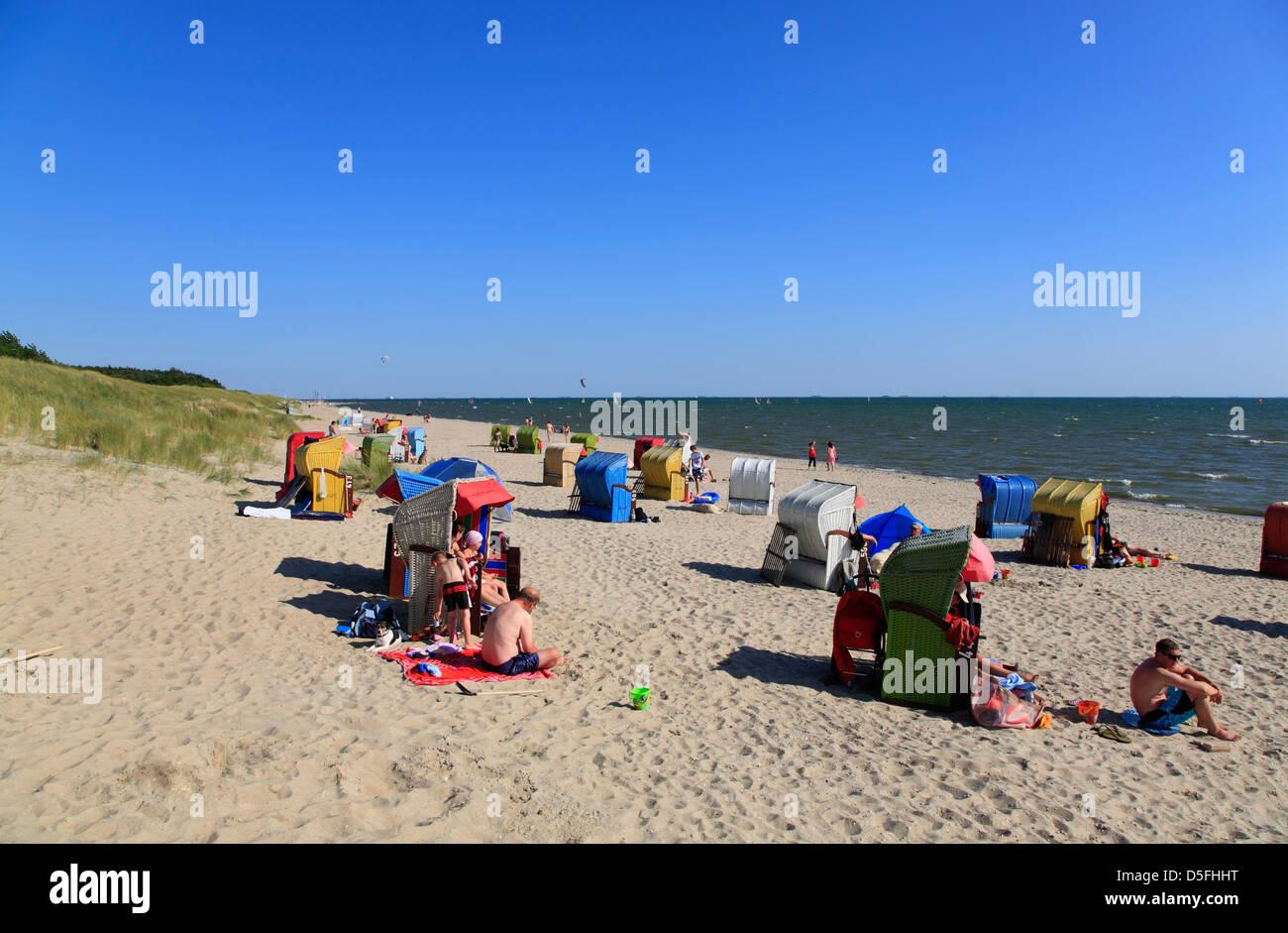 Foehr Island, Nieblum beach, Schleswig-Holstein, Germany - Stock Image