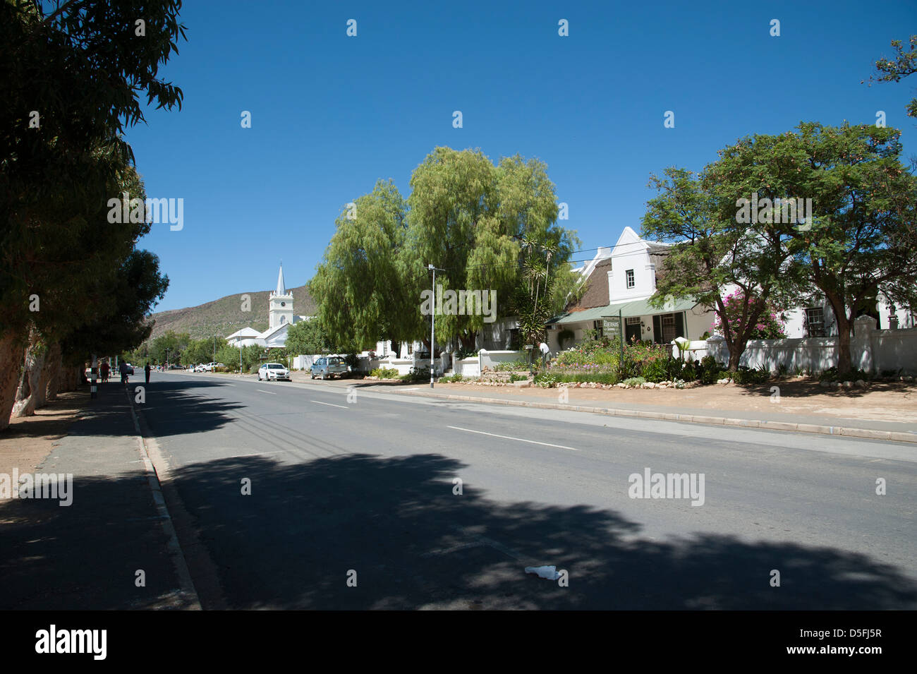 Main street and church in the Karoo town of Prince Albert South Africa - Stock Image