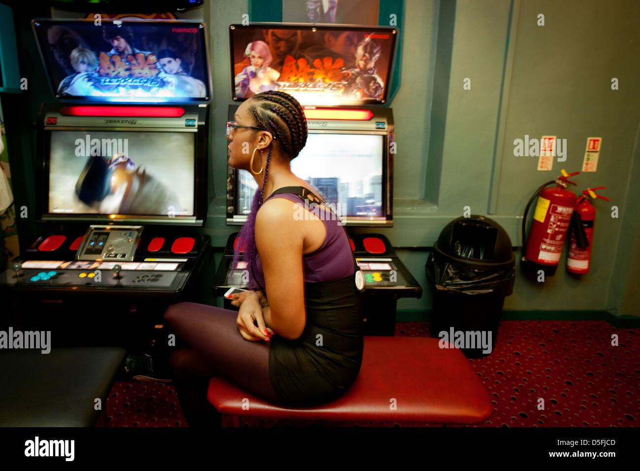 Arcade Games in Soho London - Stock Image
