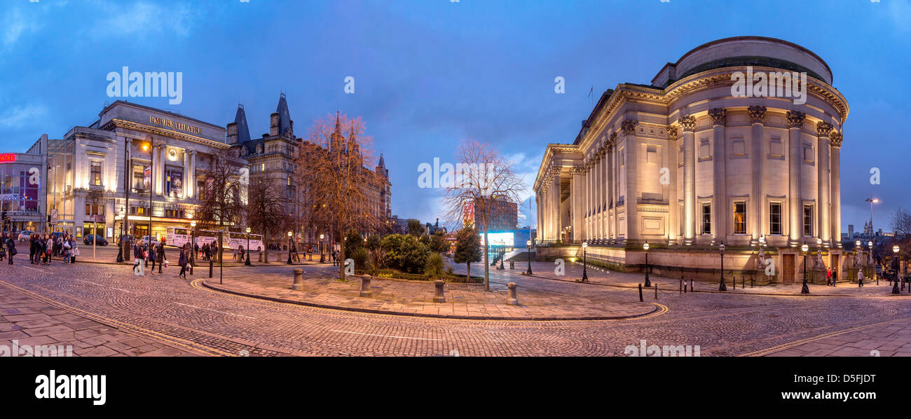 The Empire theatre and St George's hall panorama evening time. - Stock Image