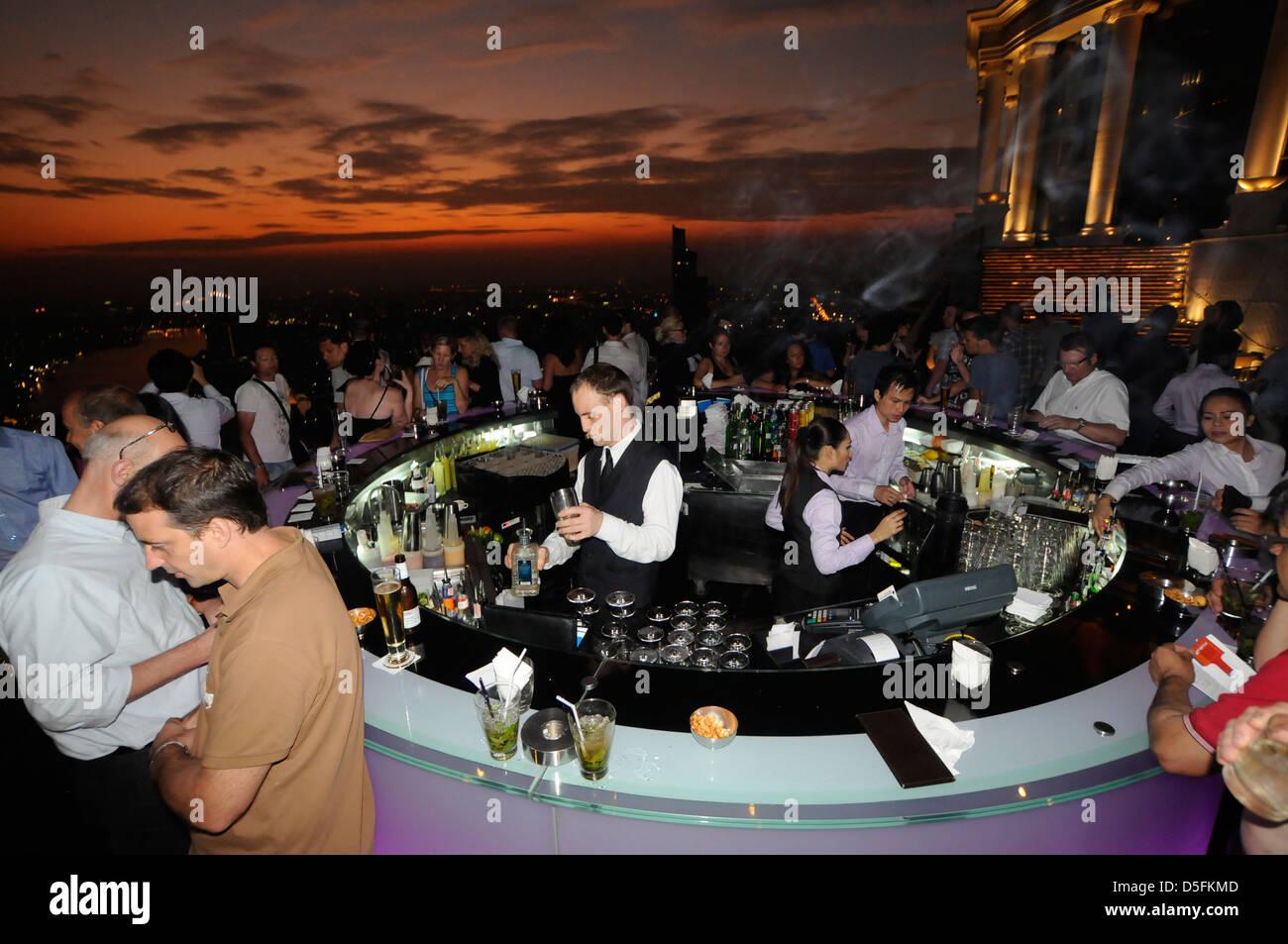 Sky bar with glass walls, Sirocco, State Tower, Bangkok Stock Photo