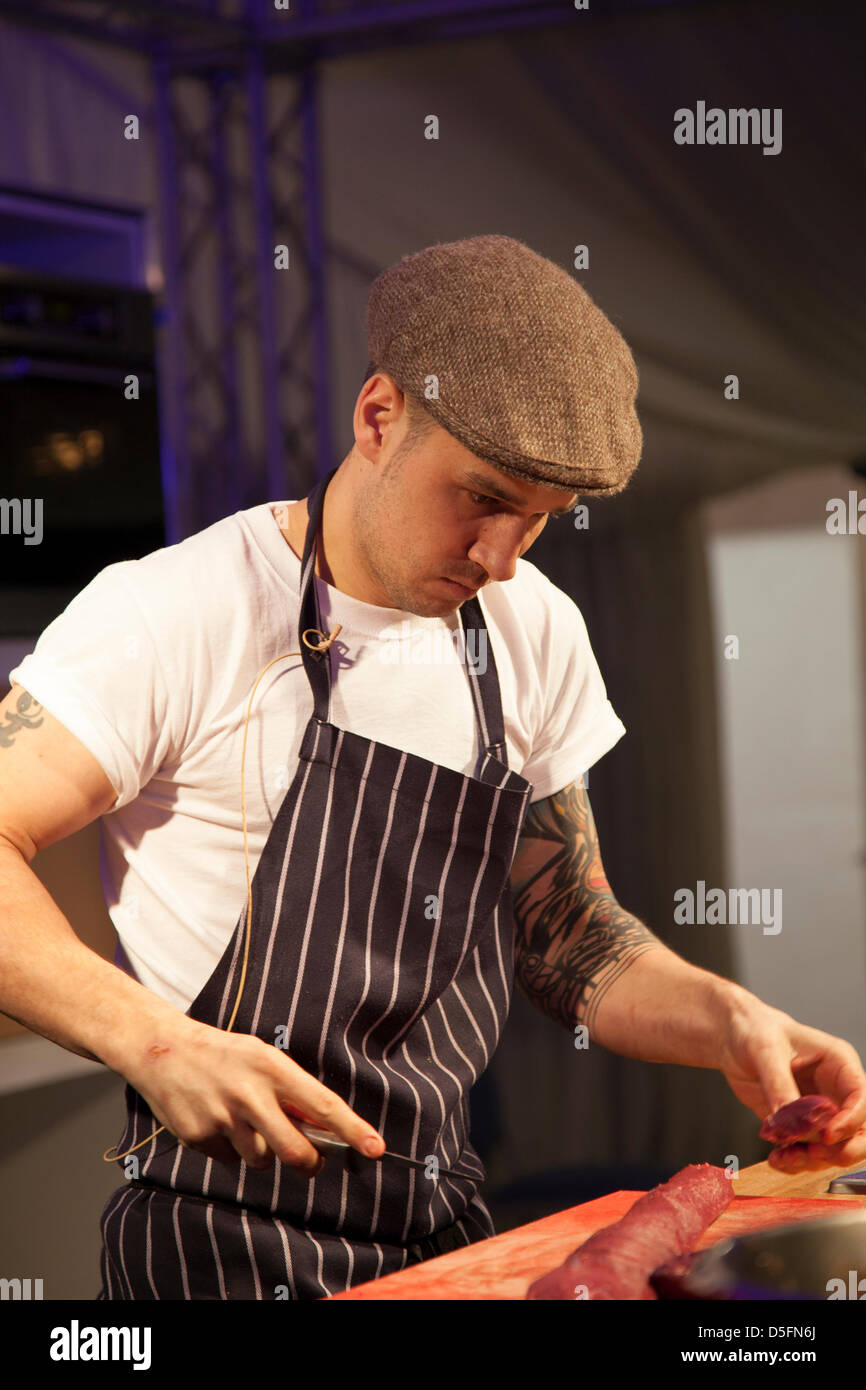 Chester, Cheshire, UK Easter Monday 1st April, 2013.  Chef Gary Usher preparing Saddle of Venison at the Chester Stock Photo