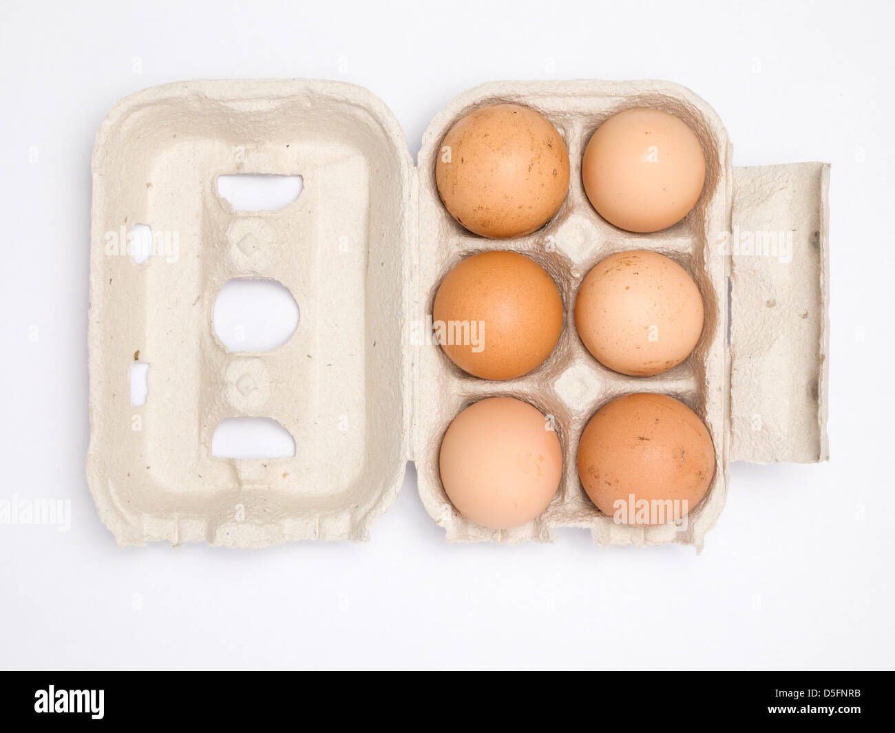 Six Brown Eggs In Recycled Egg Carton Isolated On White Background