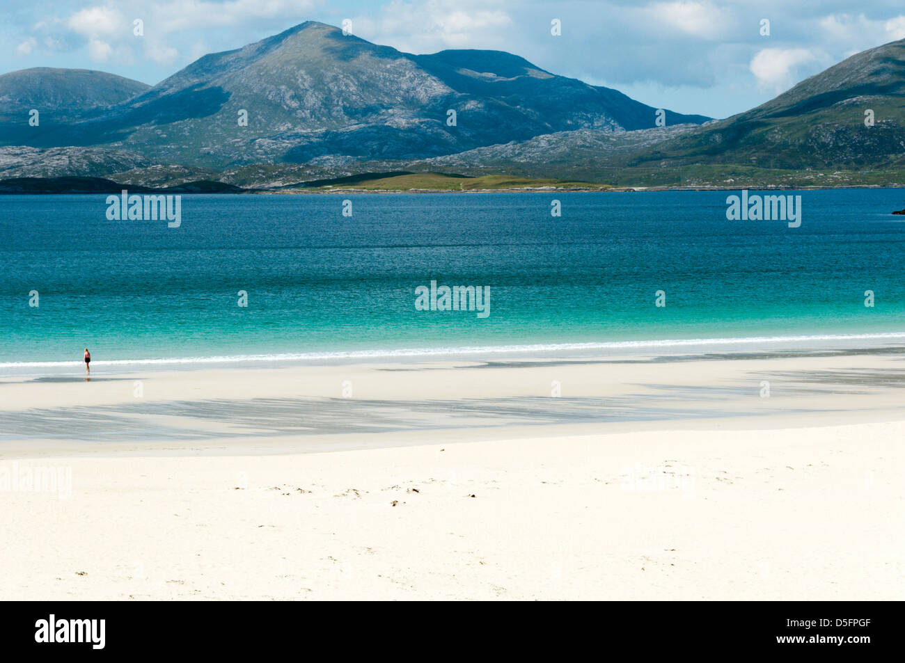 North Harris seen from South Harris across Luskentyre Bay and Traigh Rosamol. - Stock Image