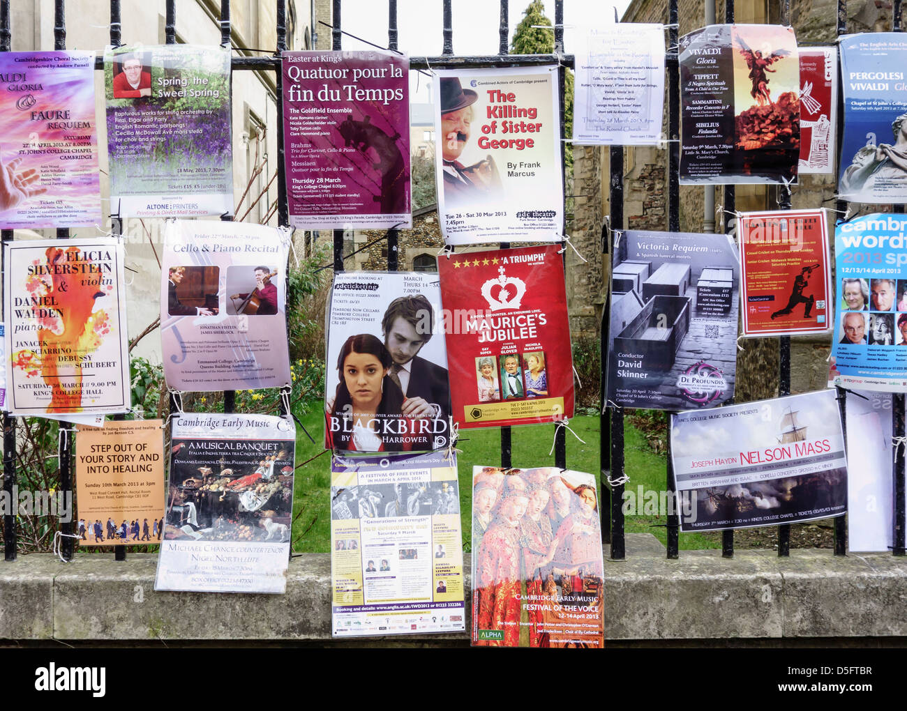 Theatre Event and Show Posters Adverts on Railings Cambridge England - Stock Image