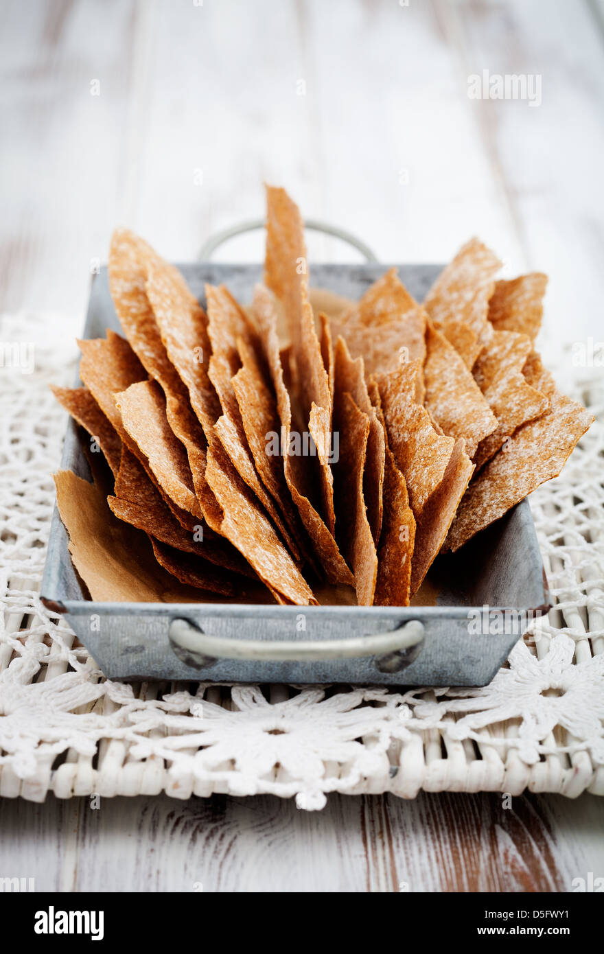 Thin and healthy rye crackers with selective focus Stock Photo