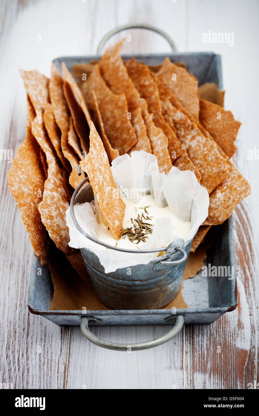 Thin and healthy rye crackers with selective focus - Stock Image