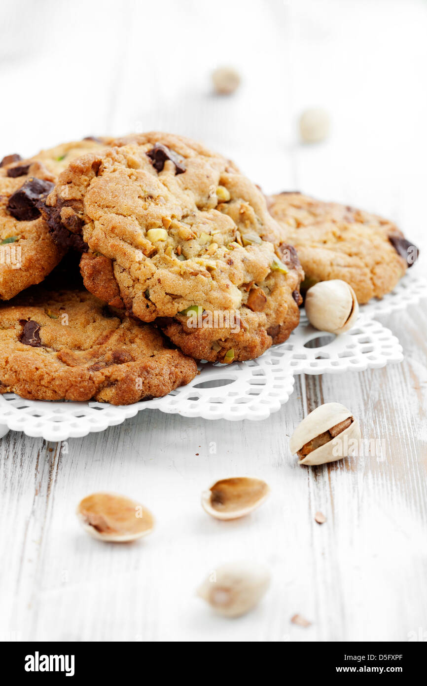 Homemade chocolate chip cookies with pistachios - Stock Image