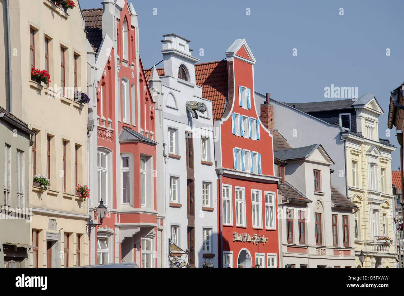 House wall front facing town square - Stock Image