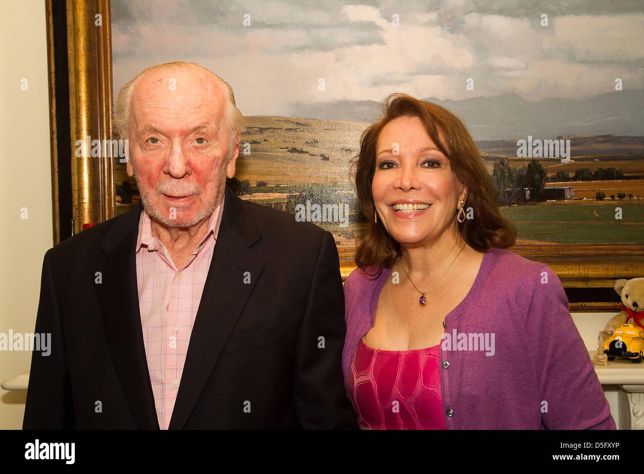 Les Miserables English lyricist Herbert Kretzmer OBE and wife Sybil Sever at home in London - Stock Image