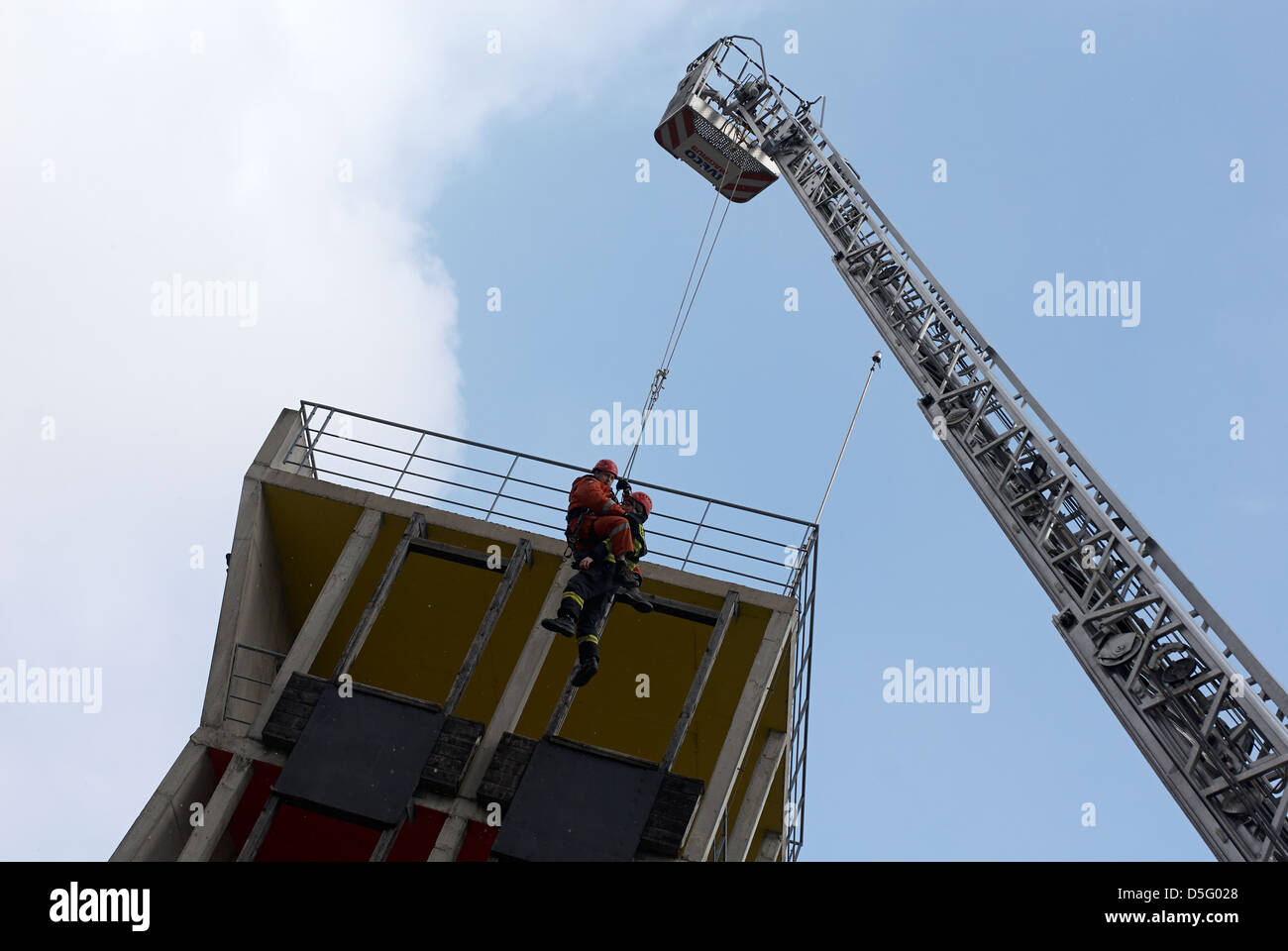Czech emergency service - cesky integrovany zachranny system IZS - police, fire and rescue service, Emergency medical Stock Photo