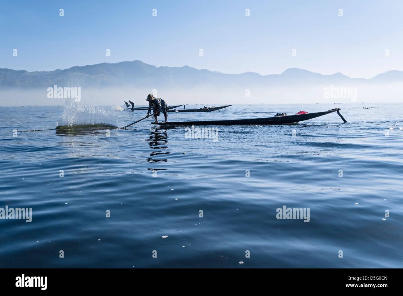 Fisherman at Inle Lake, Shan-State, Myanmar, Asia Stock Photo