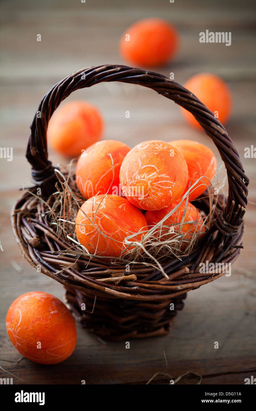 Bright orange easter eggs with selective focus - Stock Image